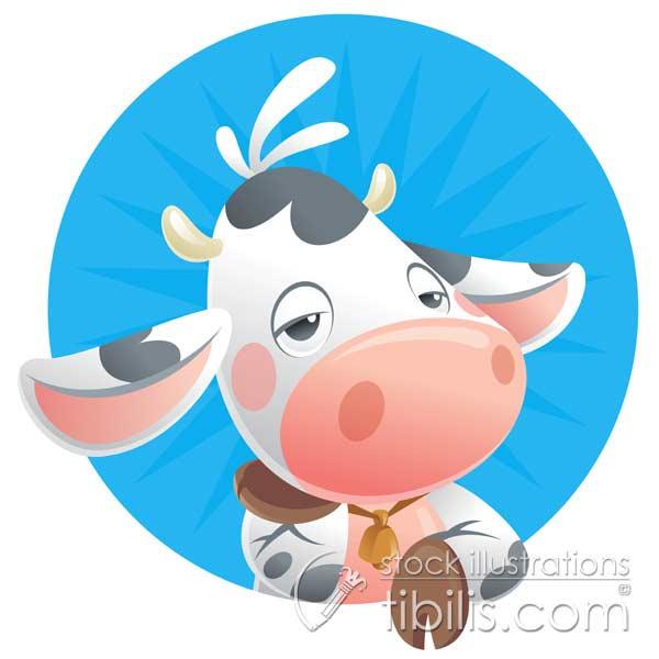Tiny cow cartoon stock illustration Hai