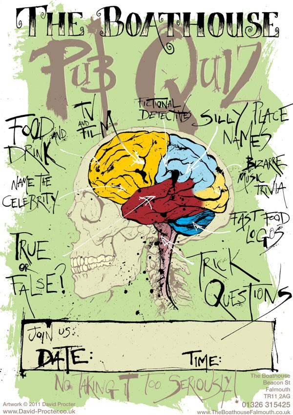 the-boathouse-pub-quiz-poster-falmouth-brain-diagram-skull-illustration-david-procter