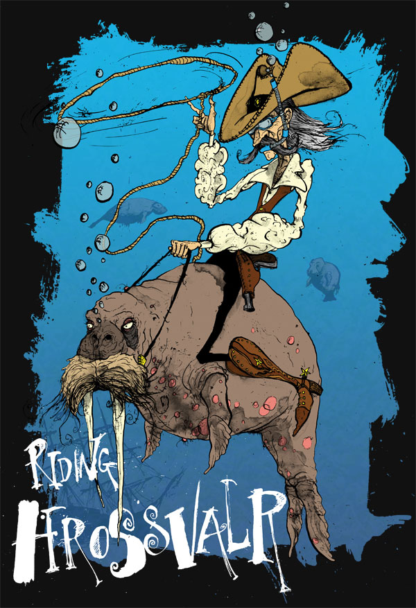 cowboy-walrus-hrossvalr-whale-horse-manatee-tee-tshirt-halu-david-procter-illustrator-illustrated