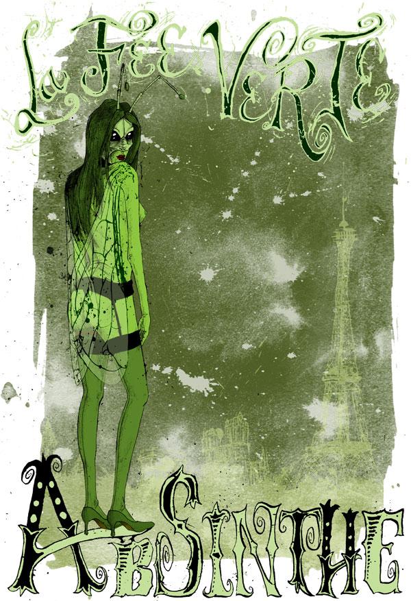 la-fee-verte-halu-green-fairy-paris-parisienne-absinthe-tee-tshirt-david-procter-illustrated-illustrator