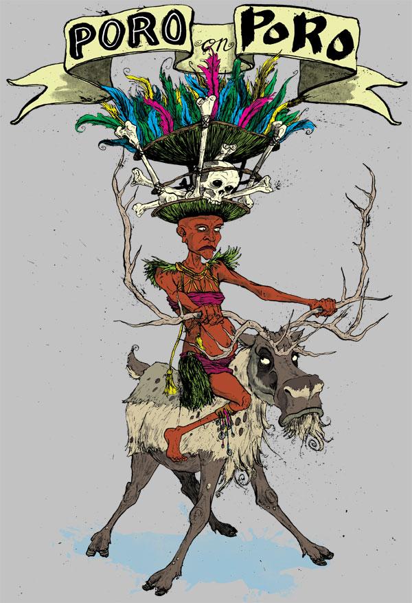 poro-tribesman-tribe-reindeer-halu-tshirt-tee-david-procter-illustrated-illustrator