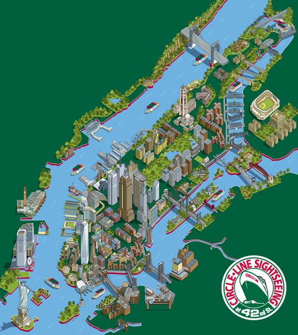 101 New York Sights Map for Circle Line Sightseeing Cruises Hire