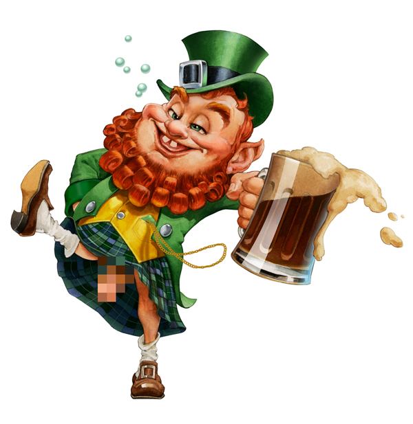 Illustration of a dancing drunk leprechaun. St. Patty Day promotion ad ...