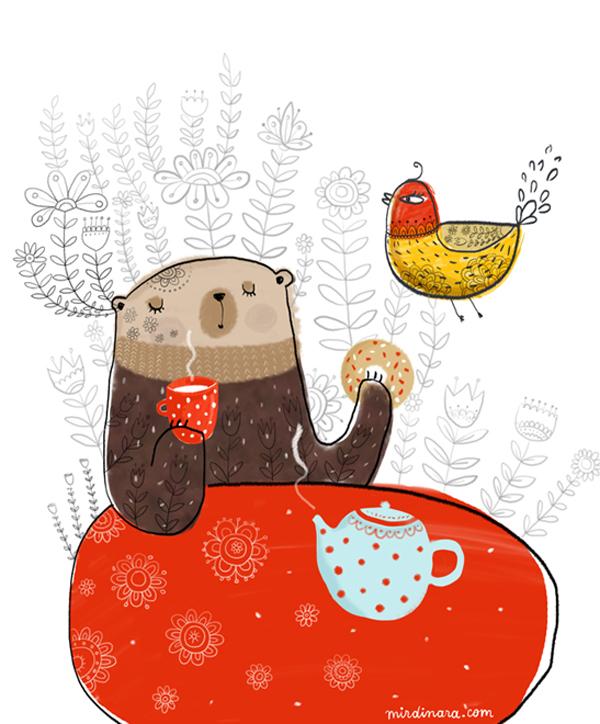 bear-drinking-tea-by-dinara-mirtalipova
