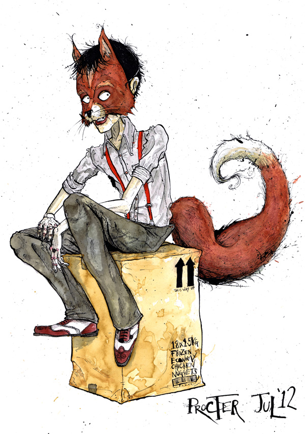 boy-in-fox-mask-sat-on-a-box-of-chicken-nuggets-illustration-david-procter