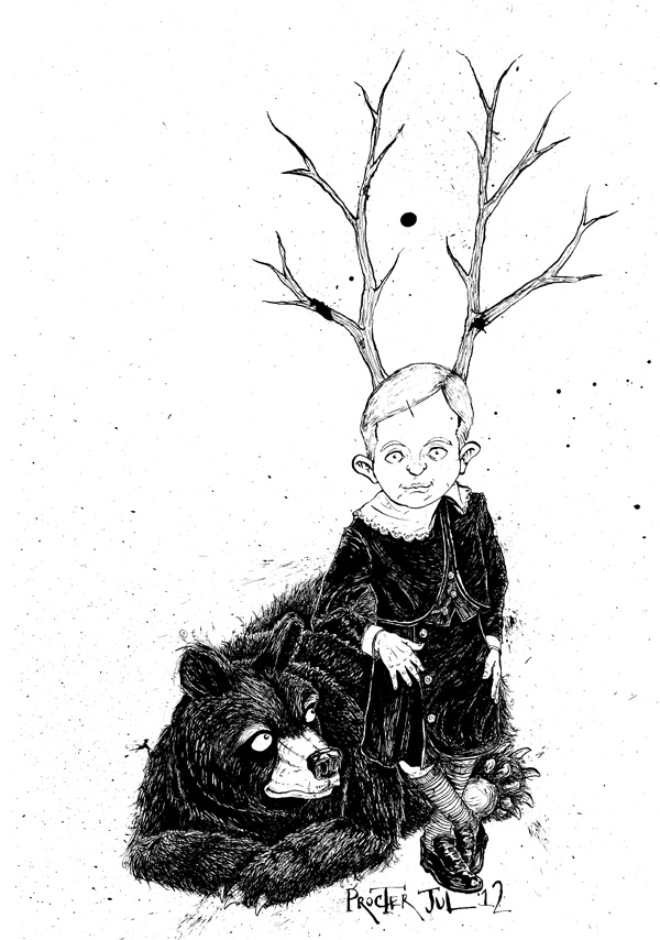 victorian-boy-with-antlers-and-a-black-bear-illustration-david-procter