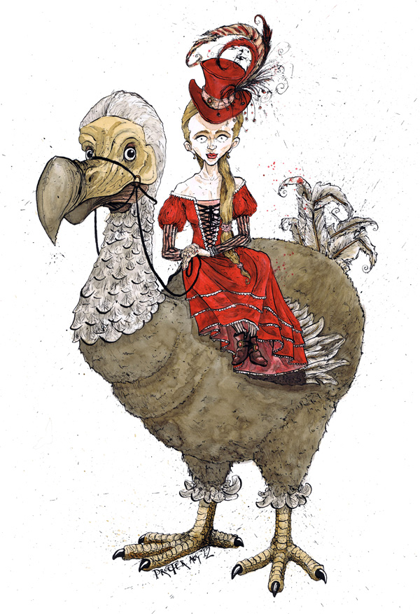 victorian-girl-riding-side-saddle-on-a-dodo-illustration-david-procter-hai