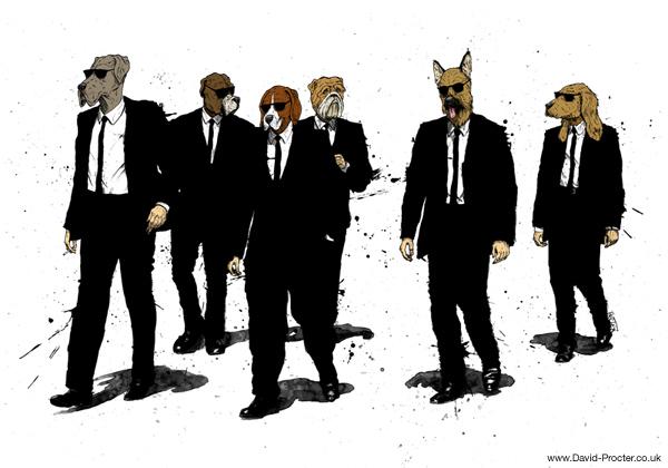 Reservoir Dawgs Dogs Quentin Tarantino Parody illustration david procter reservoir dogs know your meme