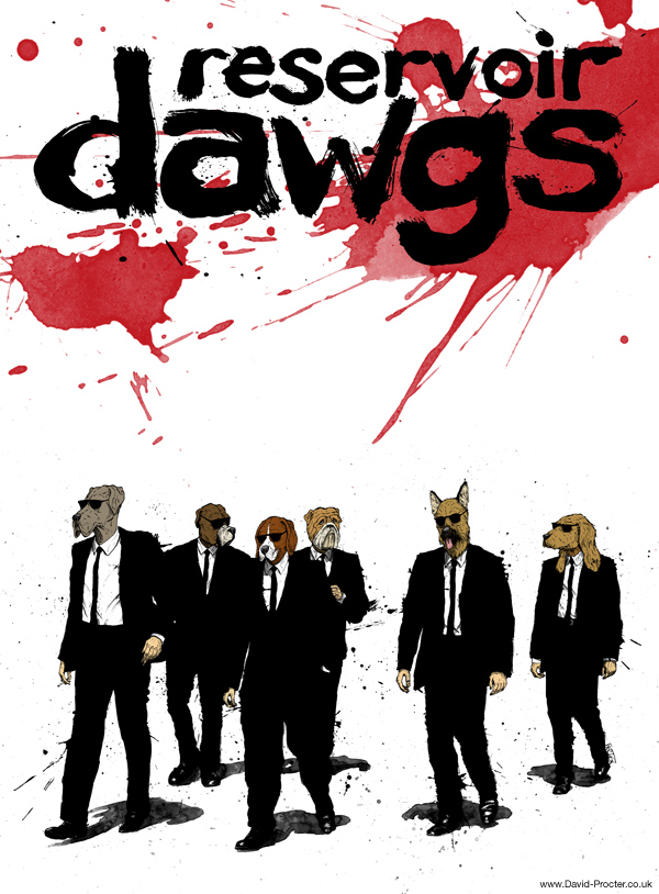 Reservoir-Dawgs-Dogs-Quentin-Tarantino-Parody-poster-illustration-david-procter