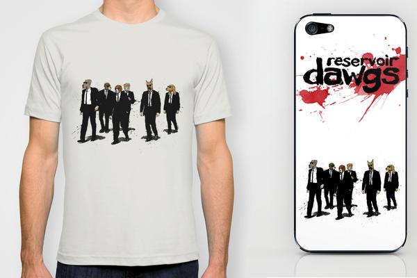 Reservoir-Dawgs-Dogs-Quentin-Tarantino-tshirt-iphone-Parody-illustration-david-procter