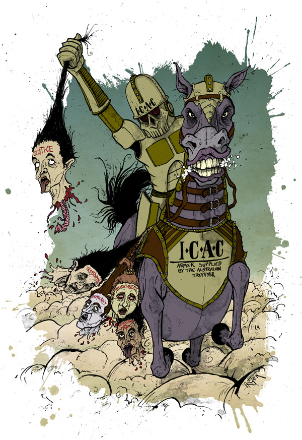 ICAC-Horse-Mounted-Headhunter-illustration-david-procter