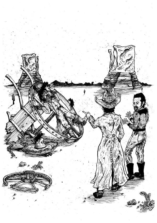 Bandido-Highwayman-Mexican-sombrero-Cowboy-Broken-Wagon-Wheel-Illustration-David-Procter