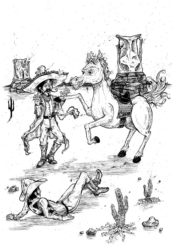 Bandido-Highwayman-Mexican-sombrero-Cowboy-Sheriff-Illustration-David-Procter