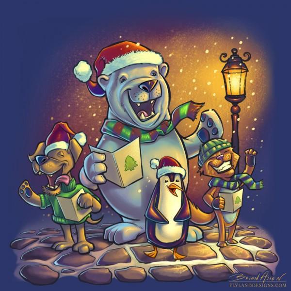 Animals Christmas Carol illustration