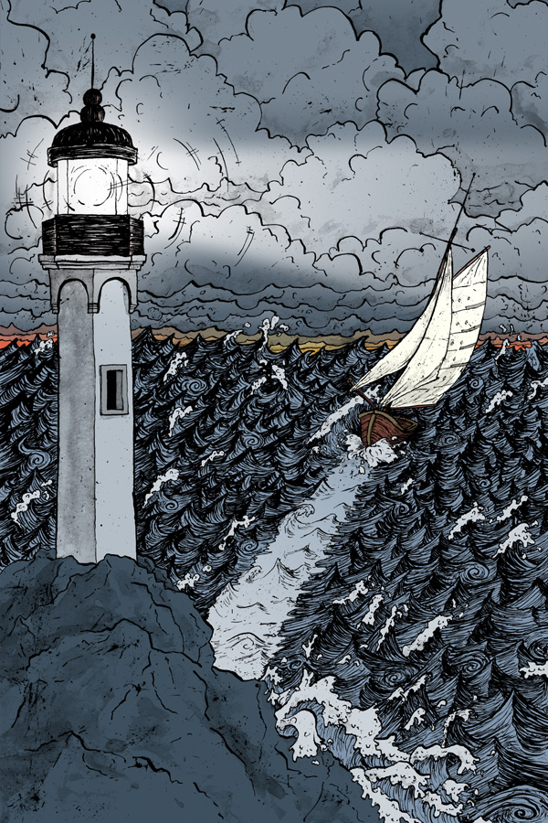 PNES-cover-lighthouse-and-small-sailing-boat-in-a-stormy-sea-illustration-cartoon-David-Procter