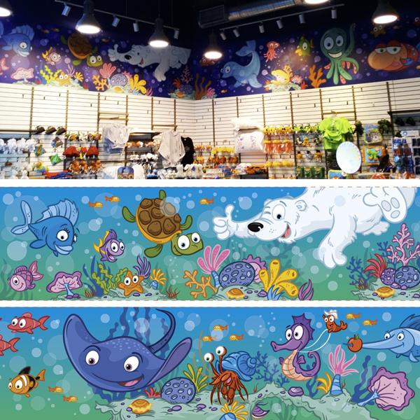 Aquarium du quebec mural hire an illustrator for Aquarium mural gifi