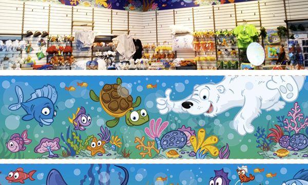 Aquarium du quebec mural hire an illustrator for Aquarium mural