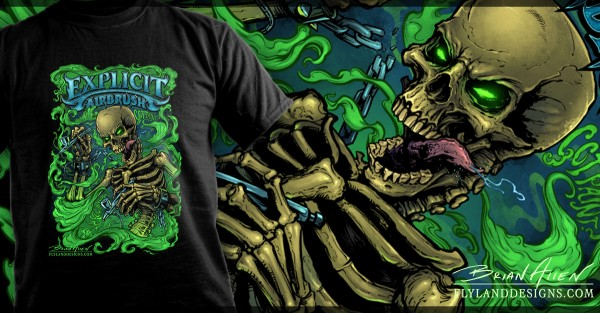 Airbrush Skeleton T-Shirt Illustration