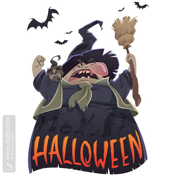Halloween cartoon scary witch with broom and owl