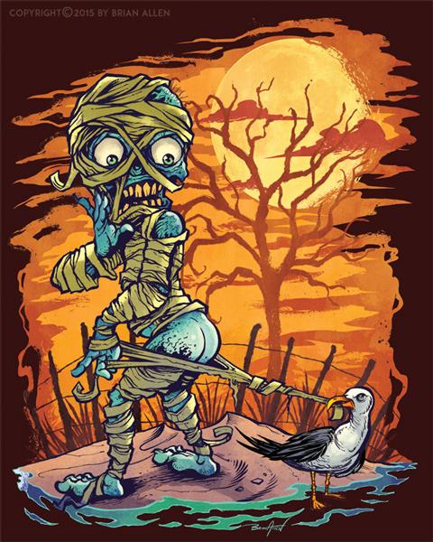 Halloween At The Beach Themed Art Prints