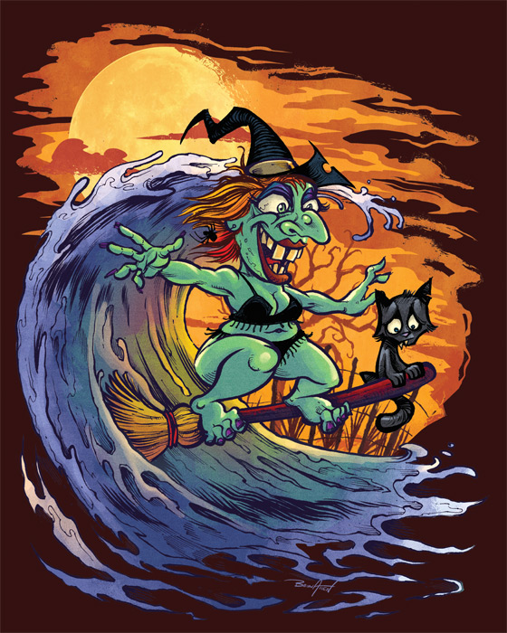 Halloween At The Beach Themed Art Prints
