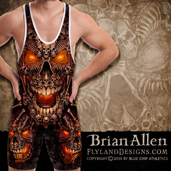 All-over-print Dye Sublimation Face of Skulls Singlet Design