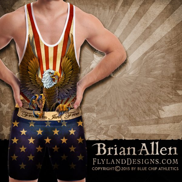 All-over-print Dye Sublimation Patriotic Eagle Singlet Design