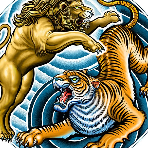 Lion And Tiger Yin Yang Tattoo Illustration Hire An Illustrator